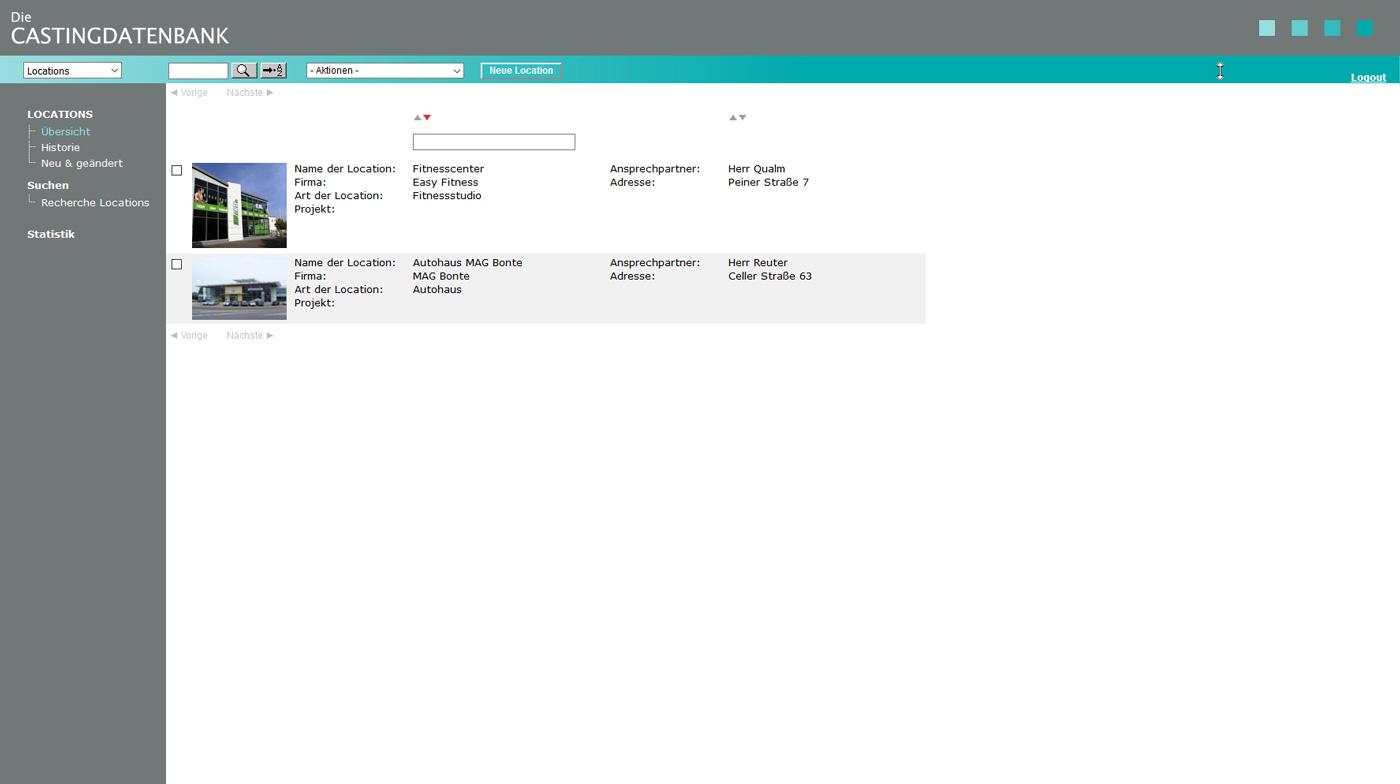 Eine Übersicht Ihrer Locations in der Castingdatenbank von datenbanken24.