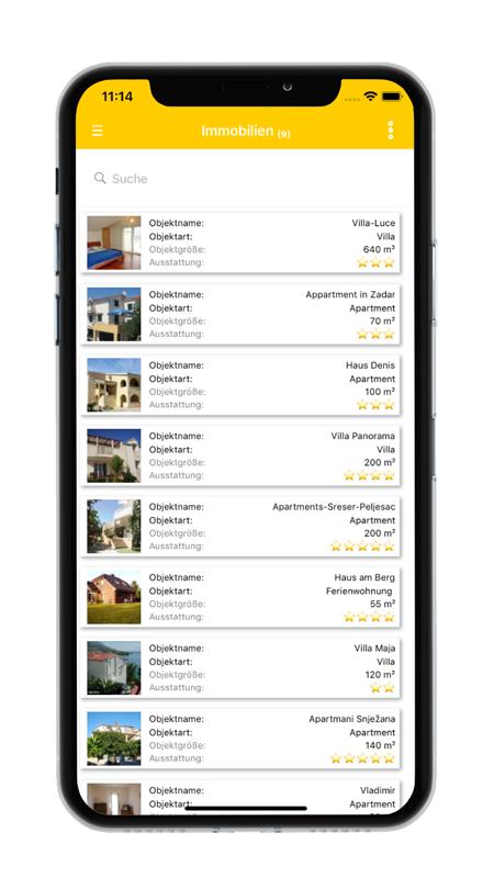 Listenansicht Immobilien - datenbanken24 Mobile App