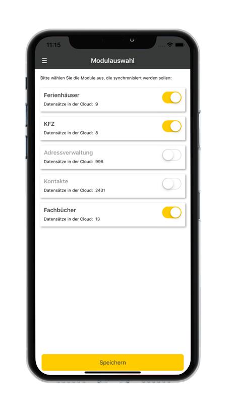 Modulauswahl in der datenbanken24 Mobile App