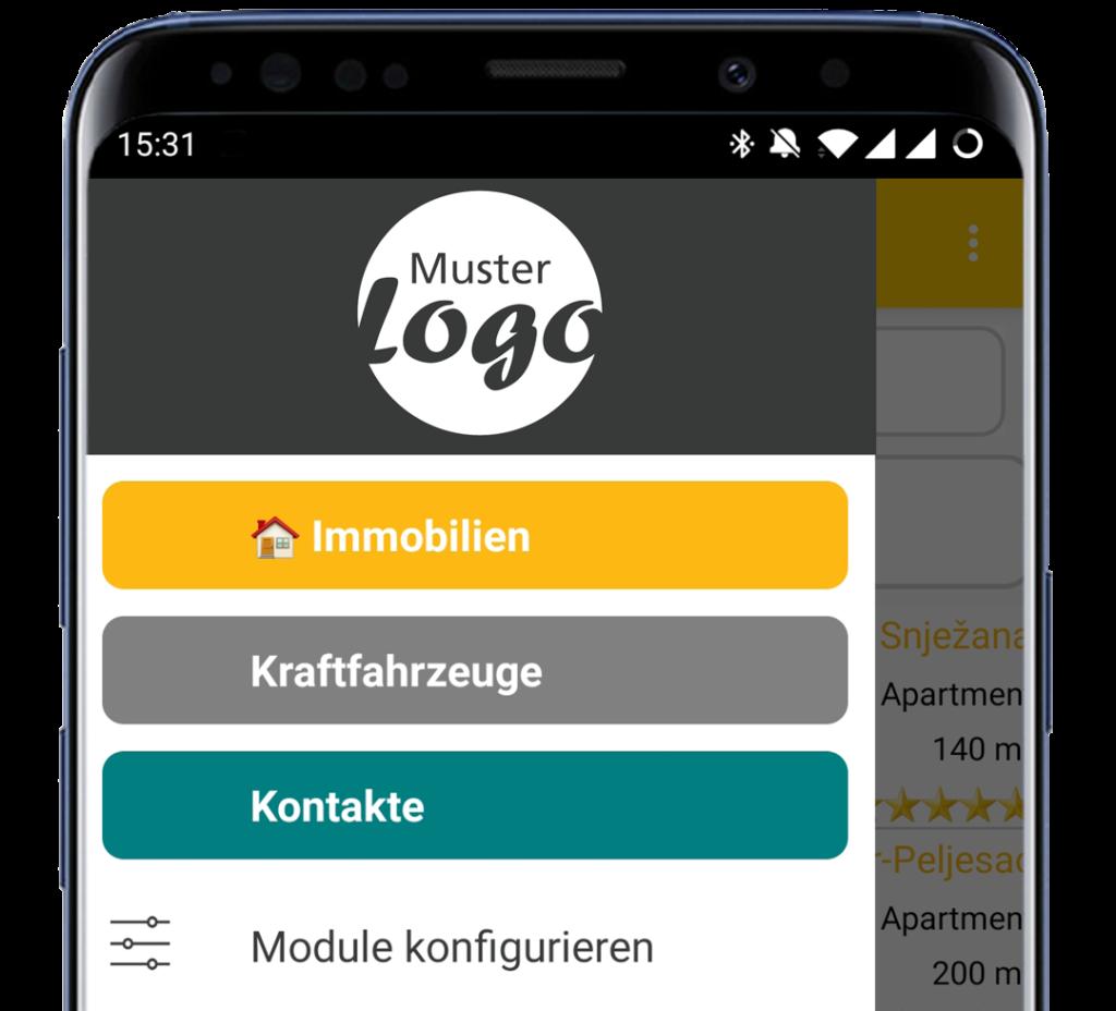 Menü der datenbanken24 Mobile App mit Ihrem Logo